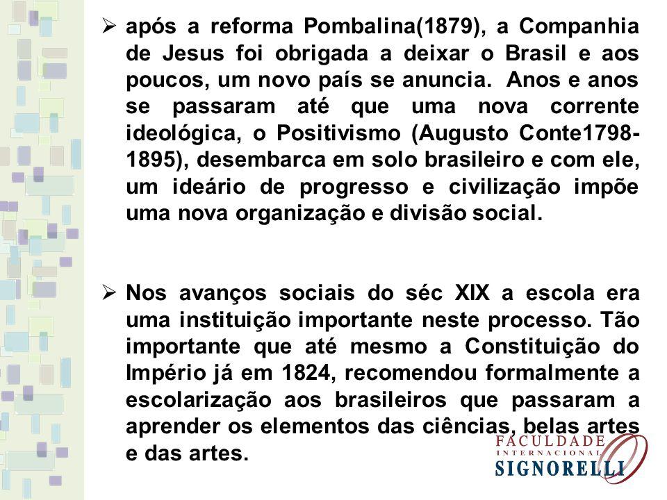 após a reforma Pombalina(1879), a Companhia de Jesus foi obrigada a deixar o Brasil e aos poucos, um novo país se anuncia. Anos e anos se passaram até