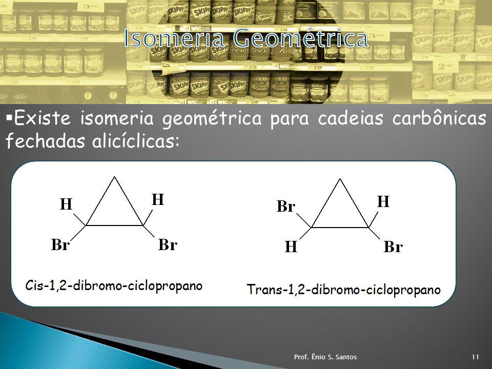 Existe isomeria geométrica para cadeias carbônicas fechadas alicíclicas: 11Prof. Ênio S. Santos