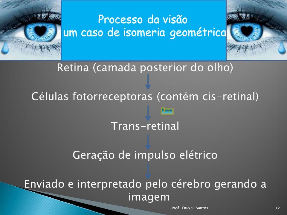 Retina (camada posterior do olho) Células fotorreceptoras (contém cis-retinal) Trans-retinal Geração de impulso elétrico Enviado e interpretado pelo c