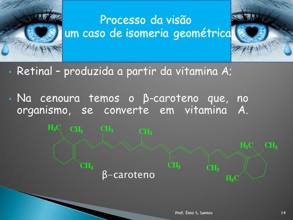 Retinal – produzida a partir da vitamina A; Na cenoura temos o β-caroteno que, no organismo, se converte em vitamina A. β-caroteno 14Prof. Ênio S. San