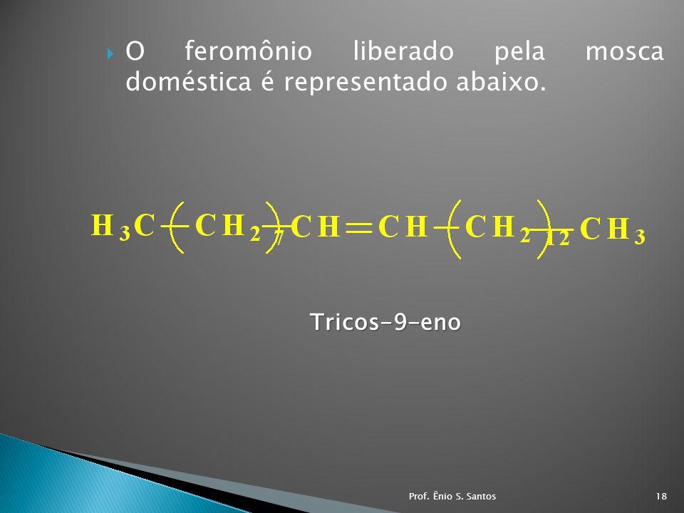 O feromônio liberado pela mosca doméstica é representado abaixo.Tricos-9-eno 18Prof. Ênio S. Santos