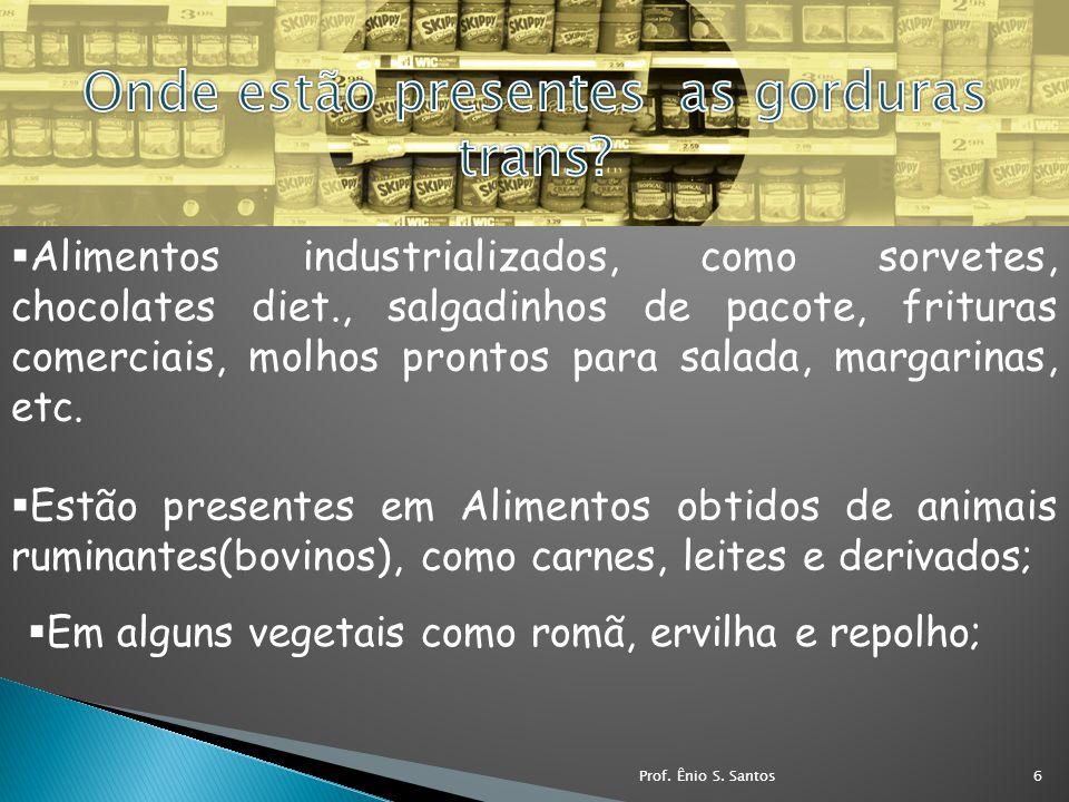Alimentos industrializados, como sorvetes, chocolates diet., salgadinhos de pacote, frituras comerciais, molhos prontos para salada, margarinas, etc.