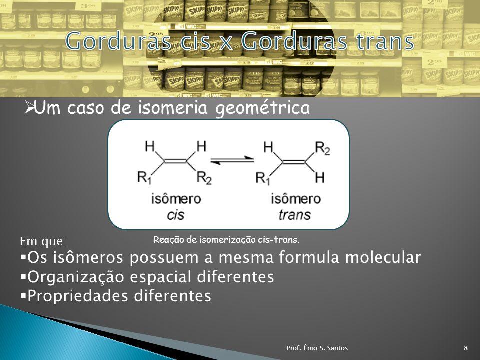 Reação de isomerização cis-trans. Um caso de isomeria geométrica Em que: Os isômeros possuem a mesma formula molecular Organização espacial diferentes