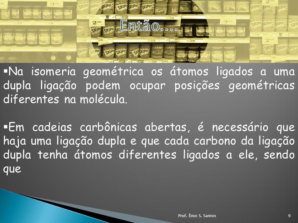 Na isomeria geométrica os átomos ligados a uma dupla ligação podem ocupar posições geométricas diferentes na molécula. Em cadeias carbônicas abertas,