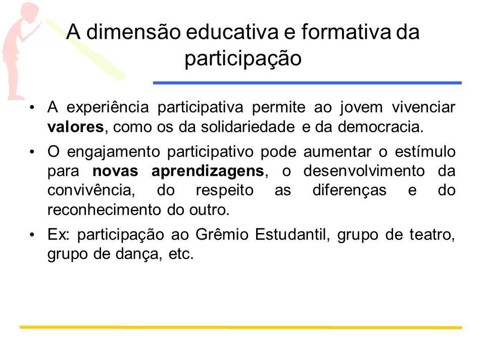 A dimensão educativa e formativa da participação A experiência participativa permite ao jovem vivenciar valores, como os da solidariedade e da democracia.
