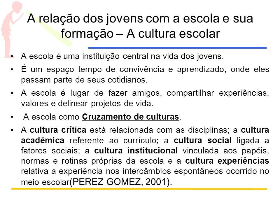 A relação dos jovens com a escola e sua formação – A cultura escolar A escola é uma instituição central na vida dos jovens.