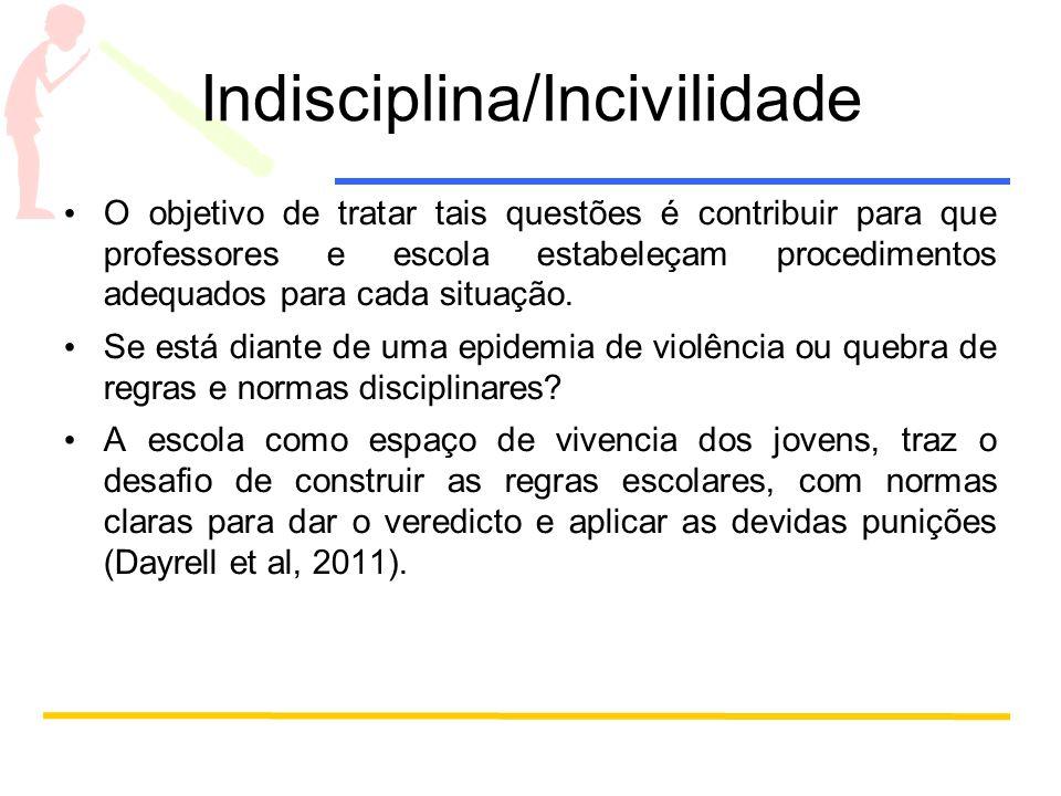 Indisciplina/Incivilidade O objetivo de tratar tais questões é contribuir para que professores e escola estabeleçam procedimentos adequados para cada situação.