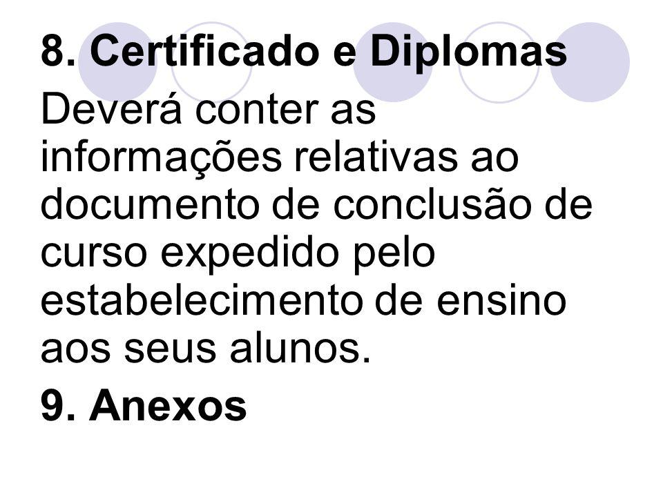 8. Certificado e Diplomas Deverá conter as informações relativas ao documento de conclusão de curso expedido pelo estabelecimento de ensino aos seus a