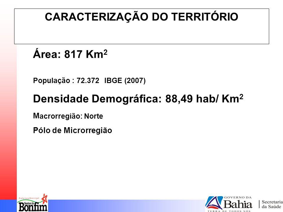 CARACTERIZAÇÃO DO TERRITÓRIO Área: 817 Km 2 População : 72.372 IBGE (2007) Densidade Demográfica: 88,49 hab/ Km 2 M acrorregião: Norte Pólo de Microrregião