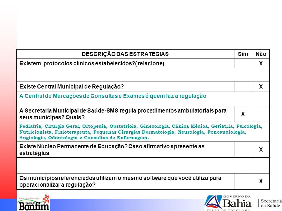 DESCRIÇÃO DAS ESTRATÉGIASSimNão Existem protocolos clínicos estabelecidos ( relacione) X Existe Central Municipal de Regulação.