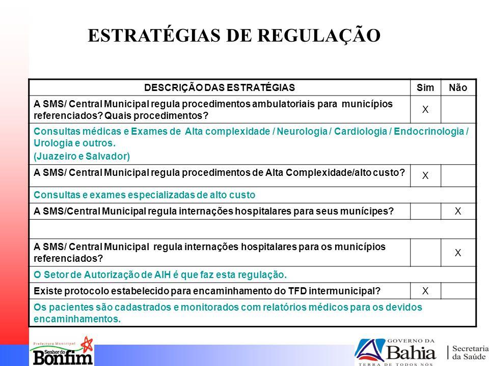 DESCRIÇÃO DAS ESTRATÉGIASSimNão A SMS/ Central Municipal regula procedimentos ambulatoriais para municípios referenciados.