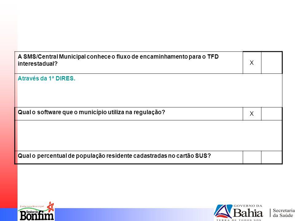 A SMS/Central Municipal conhece o fluxo de encaminhamento para o TFD interestadual.