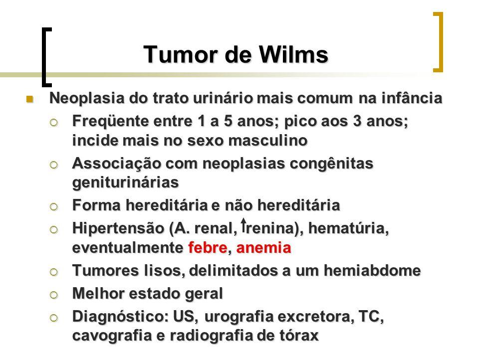 Tumor de Wilms Neoplasia do trato urinário mais comum na infância Neoplasia do trato urinário mais comum na infância Freqüente entre 1 a 5 anos; pico