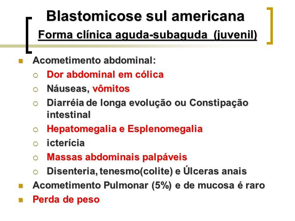Blastomicose sul americana Forma clínica aguda-subaguda (juvenil) Acometimento abdominal: Acometimento abdominal: Dor abdominal em cólica Dor abdomina