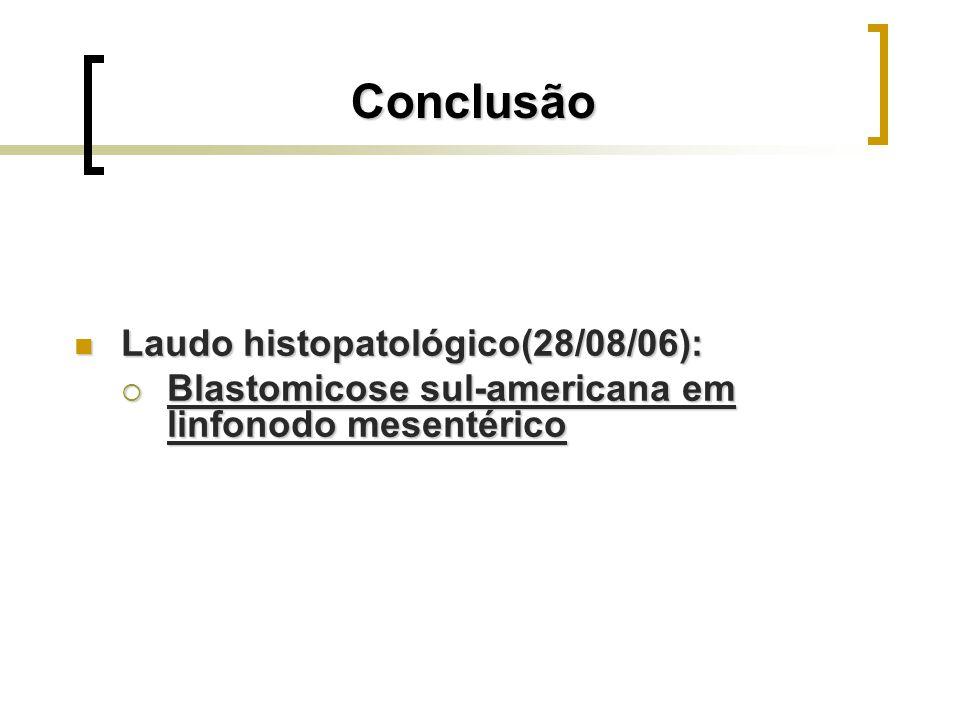 Conclusão Laudo histopatológico(28/08/06): Laudo histopatológico(28/08/06): Blastomicose sul-americana em linfonodo mesentérico Blastomicose sul-ameri
