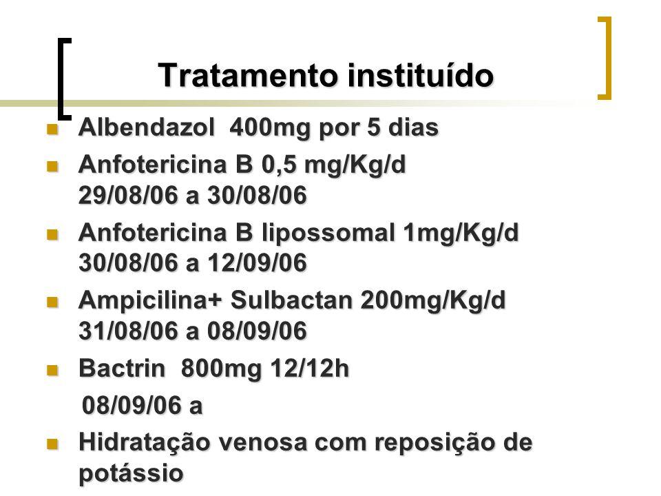 Tratamento instituído Albendazol 400mg por 5 dias Albendazol 400mg por 5 dias Anfotericina B 0,5 mg/Kg/d 29/08/06 a 30/08/06 Anfotericina B 0,5 mg/Kg/
