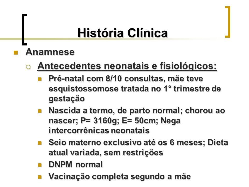 História Clínica Anamnese Anamnese Antecedentes patológicos Antecedentes patológicos Com 1 m e 18 d, foi avaliada no HBDF para possibilidade de distúrbio de coagulação (sangramento contínuo após punção venosa durante internação por pneumonia) Com 1 m e 18 d, foi avaliada no HBDF para possibilidade de distúrbio de coagulação (sangramento contínuo após punção venosa durante internação por pneumonia) Várias internações por pneumonia e bronquite Várias internações por pneumonia e bronquite Última internação em março de 2006 por pneumonia durante 1 semana no HRAS Última internação em março de 2006 por pneumonia durante 1 semana no HRAS Varicela aos 6 anos.