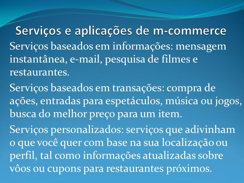 Serviços baseados em informações: mensagem instantânea, e-mail, pesquisa de filmes e restaurantes.