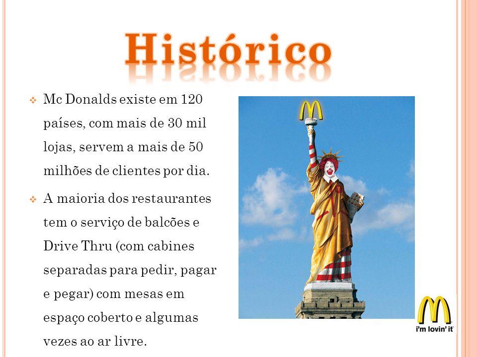 Mc Donalds existe em 120 países, com mais de 30 mil lojas, servem a mais de 50 milhões de clientes por dia. A maioria dos restaurantes tem o serviço d