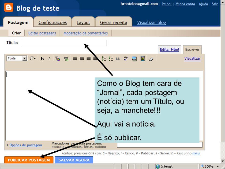 Como o Blog tem cara de Jornal, cada postagem (notícia) tem um Título, ou seja, a manchete!!.