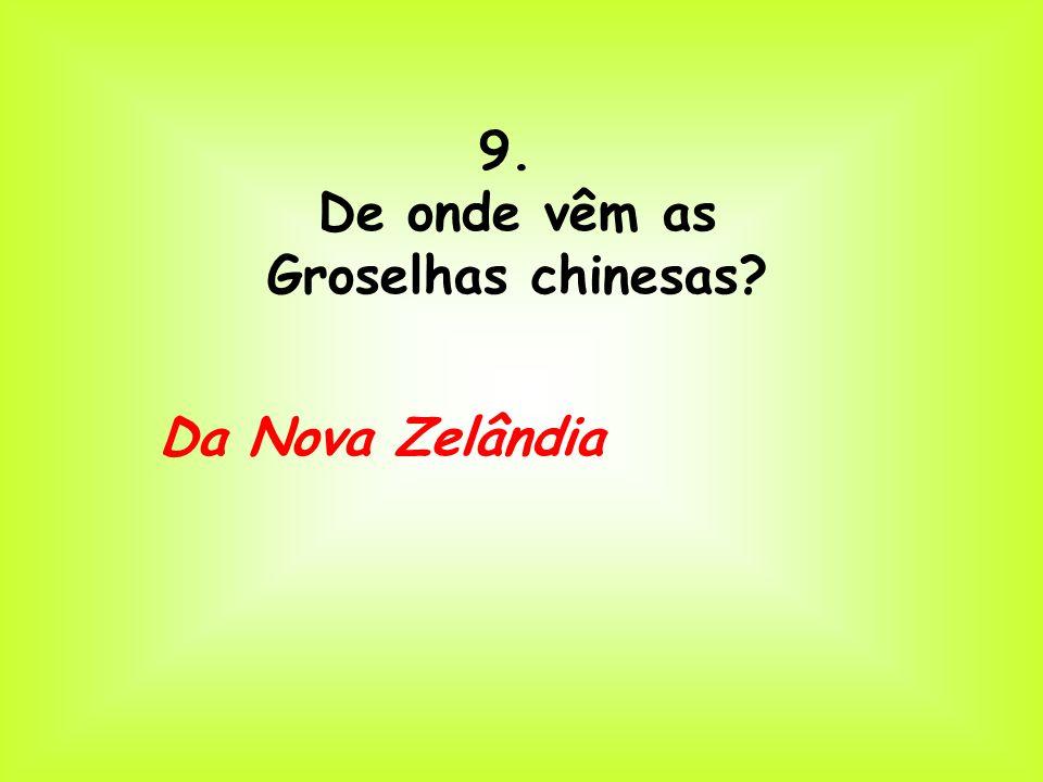 9. De onde vêm as Groselhas chinesas? Da Nova Zelândia