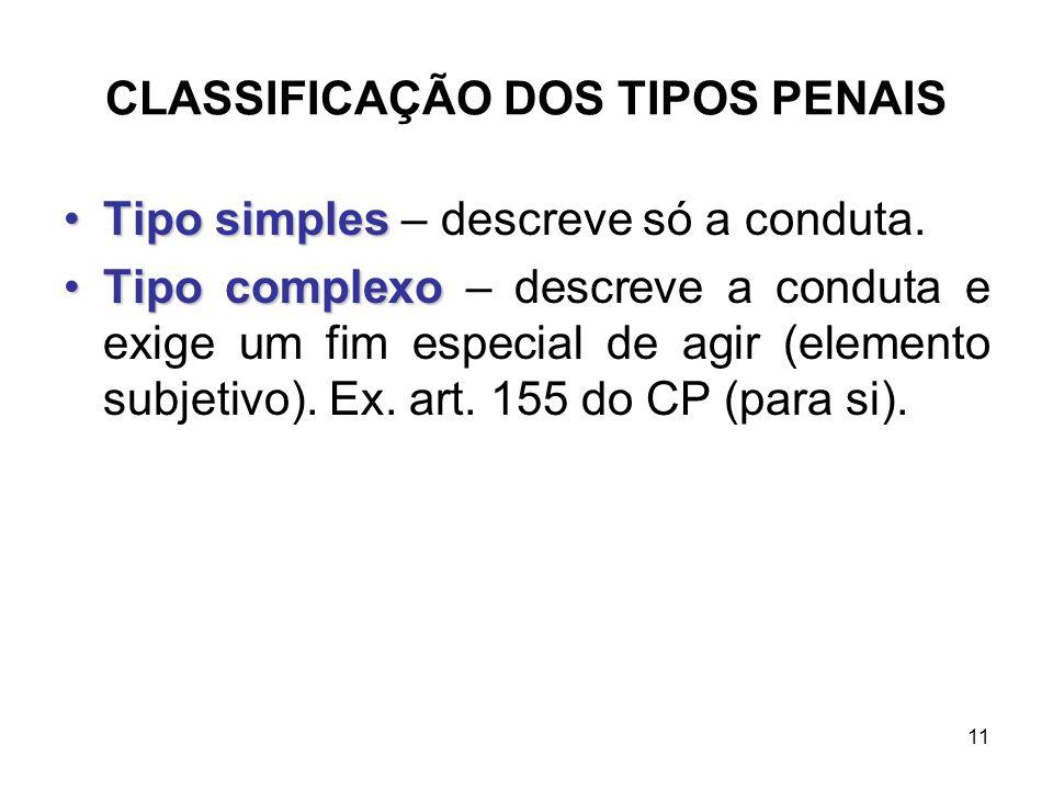 CLASSIFICAÇÃO DOS TIPOS PENAIS Tipo simplesTipo simples – descreve só a conduta. Tipo complexoTipo complexo – descreve a conduta e exige um fim especi