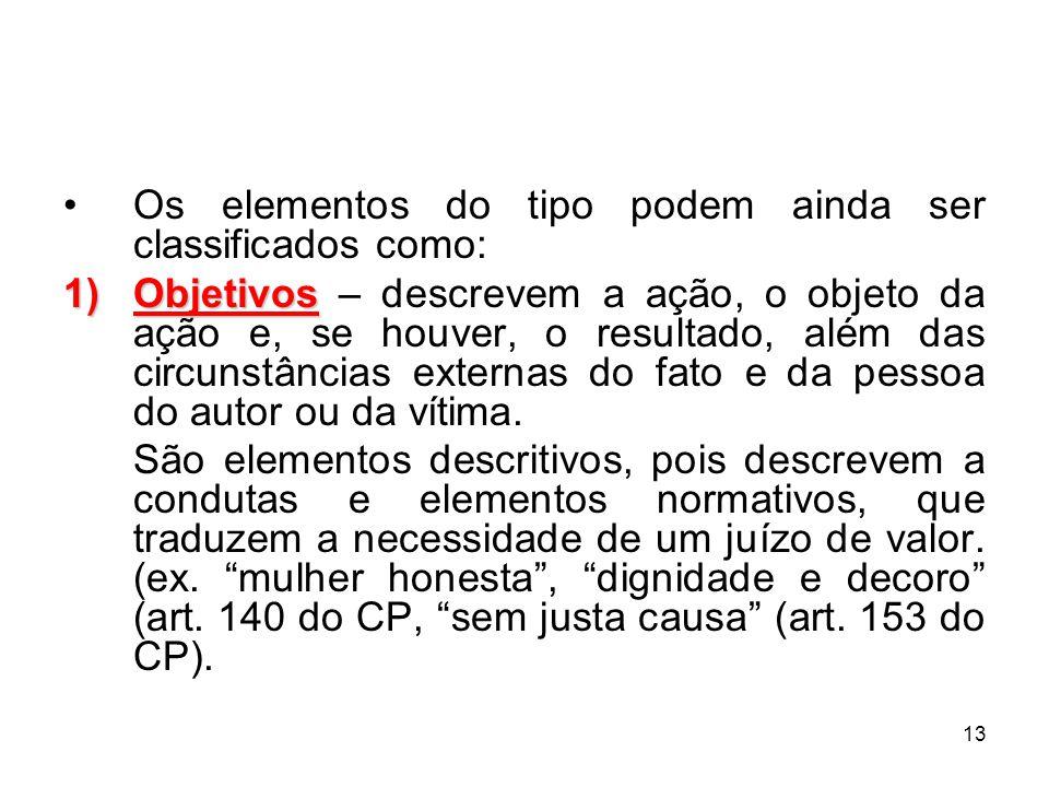 Os elementos do tipo podem ainda ser classificados como: 1)Objetivos 1)Objetivos – descrevem a ação, o objeto da ação e, se houver, o resultado, além