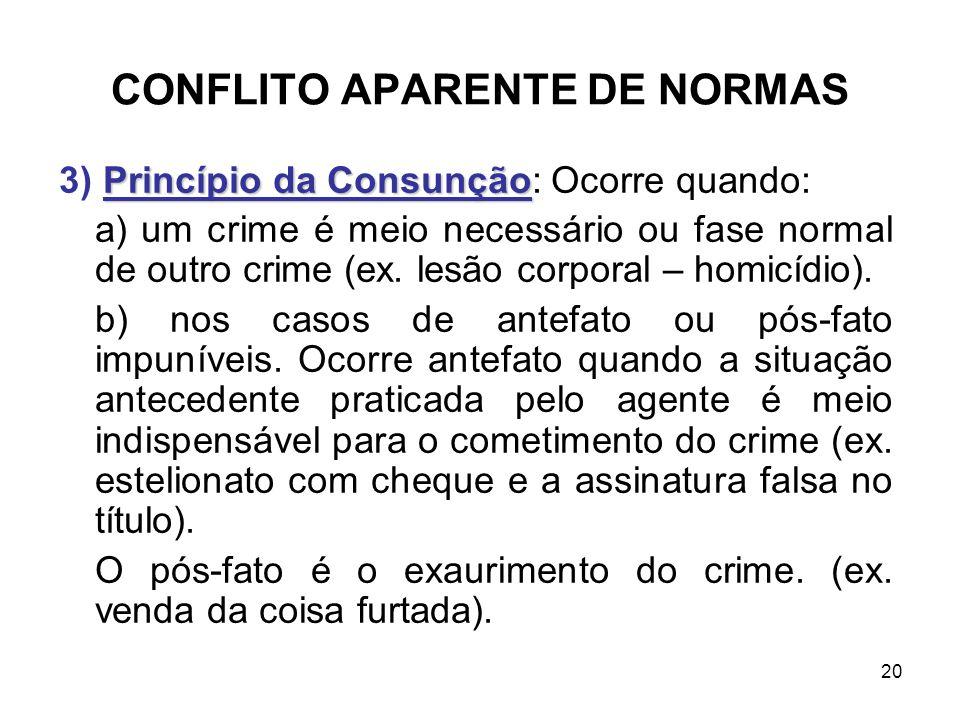CONFLITO APARENTE DE NORMAS Princípio da Consunção 3) Princípio da Consunção: Ocorre quando: a) um crime é meio necessário ou fase normal de outro cri
