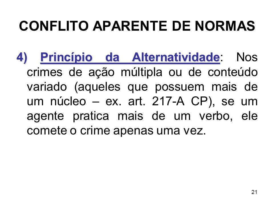 CONFLITO APARENTE DE NORMAS 4) Princípio da Alternatividade 4) Princípio da Alternatividade: Nos crimes de ação múltipla ou de conteúdo variado (aquel