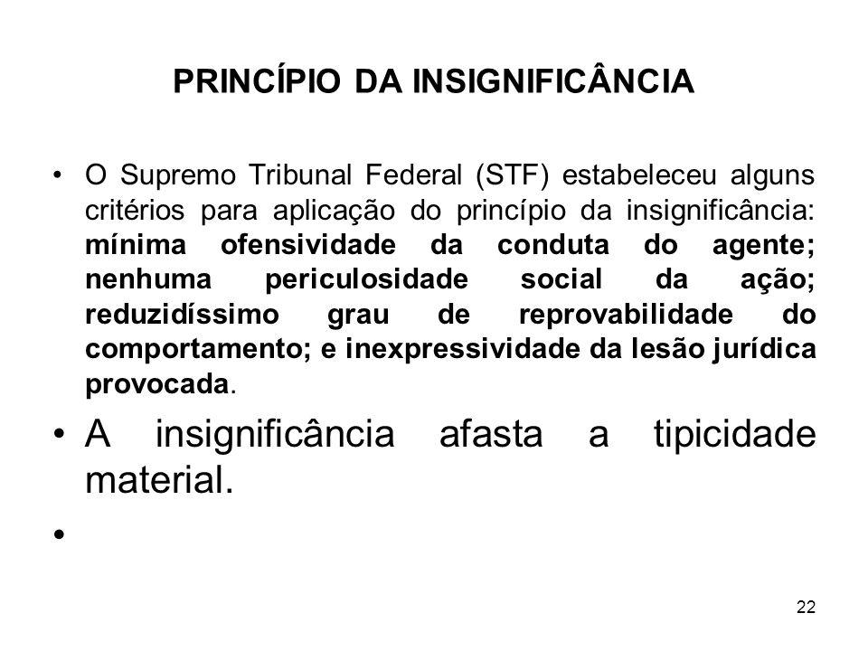 PRINCÍPIO DA INSIGNIFICÂNCIA O Supremo Tribunal Federal (STF) estabeleceu alguns critérios para aplicação do princípio da insignificância: mínima ofen