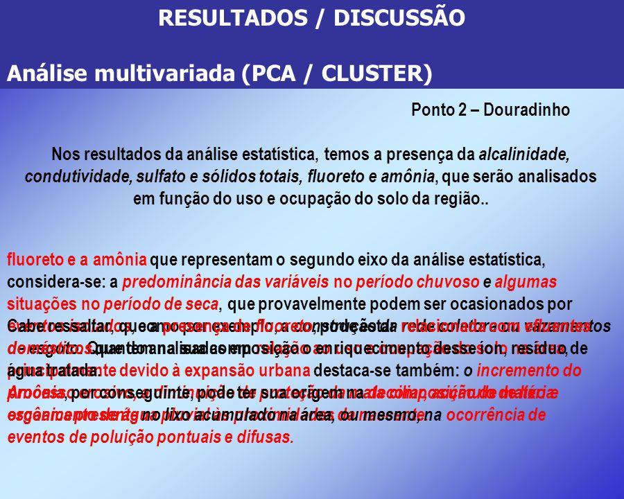 RESULTADOS / DISCUSSÃO Análise multivariada (PCA / CLUSTER) Ponto 2 – Douradinho Nos resultados da análise estatística, temos a presença da alcalinida