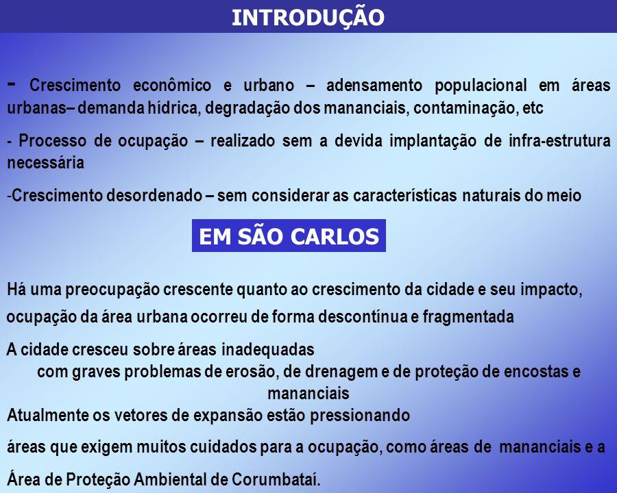 INTRODUÇÃO - Crescimento econômico e urbano – adensamento populacional em áreas urbanas– demanda hídrica, degradação dos mananciais, contaminação, etc