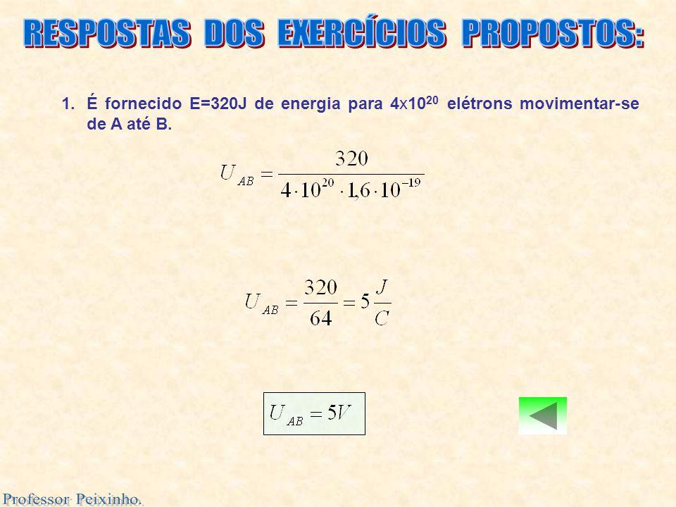 1.É fornecido E=320J de energia para 4x10 20 elétrons movimentar-se de A até B.