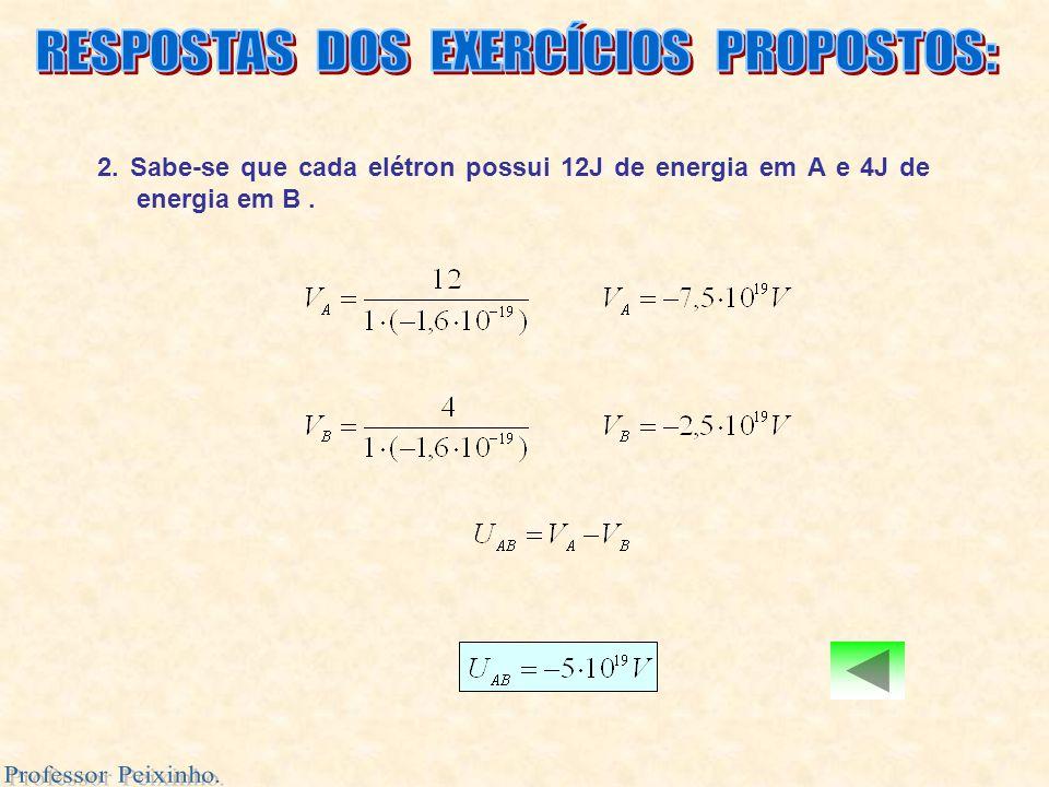 2. Sabe-se que cada elétron possui 12J de energia em A e 4J de energia em B.