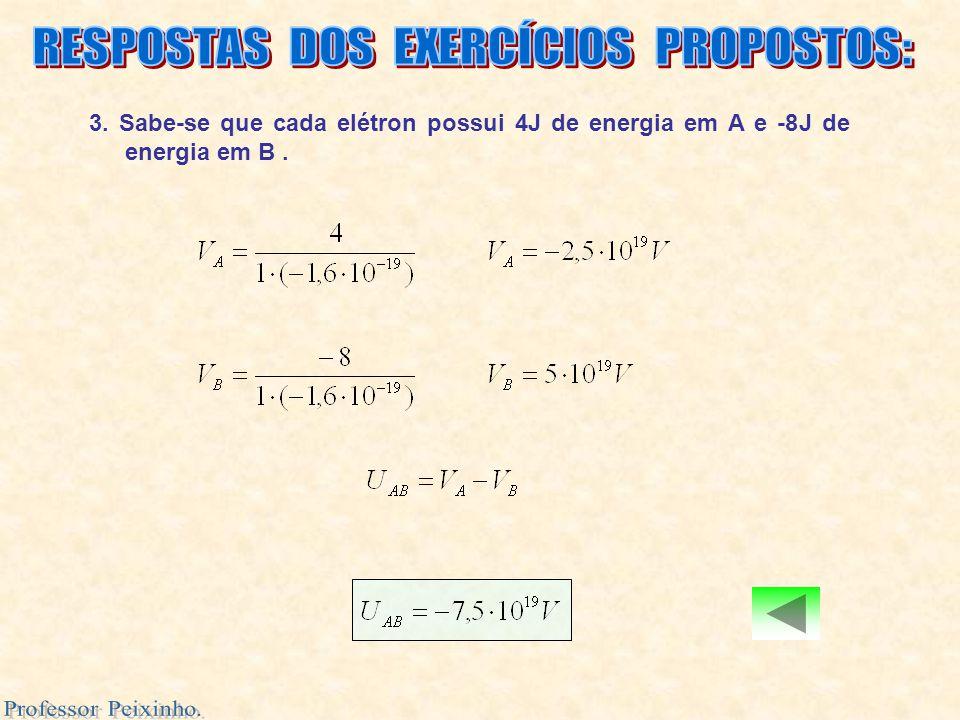 3. Sabe-se que cada elétron possui 4J de energia em A e -8J de energia em B.