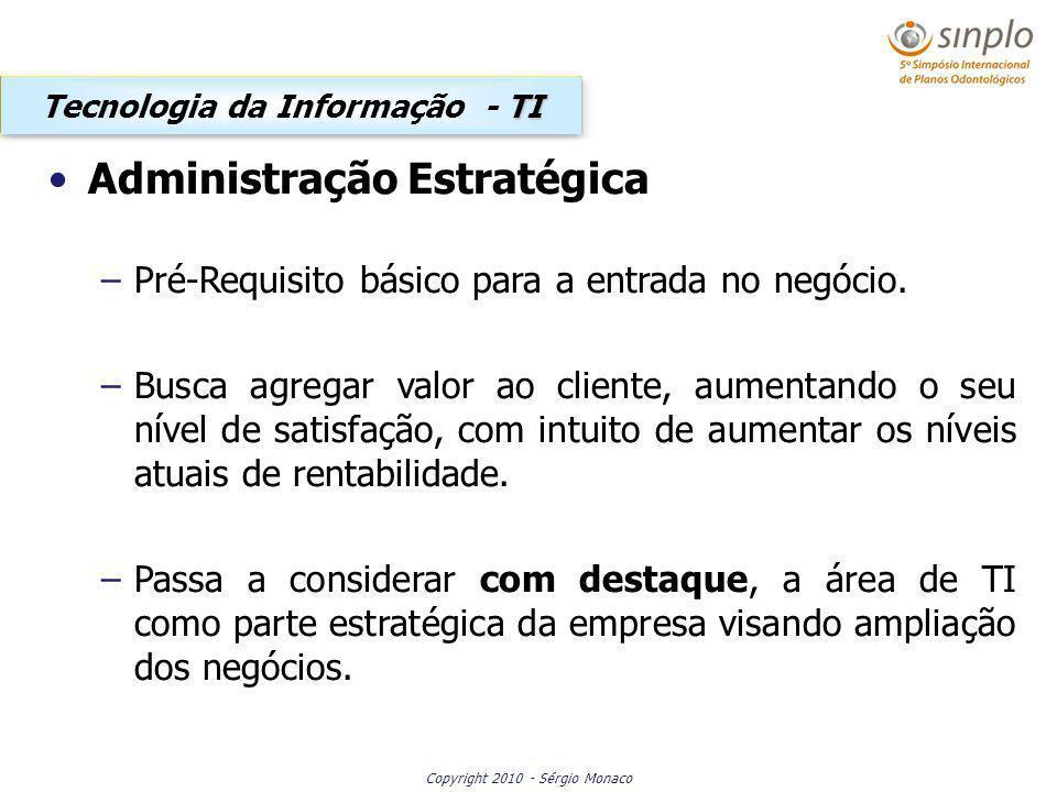 Copyright 2010 - Sérgio Monaco Administração Estratégica –Pré-Requisito básico para a entrada no negócio. –Busca agregar valor ao cliente, aumentando