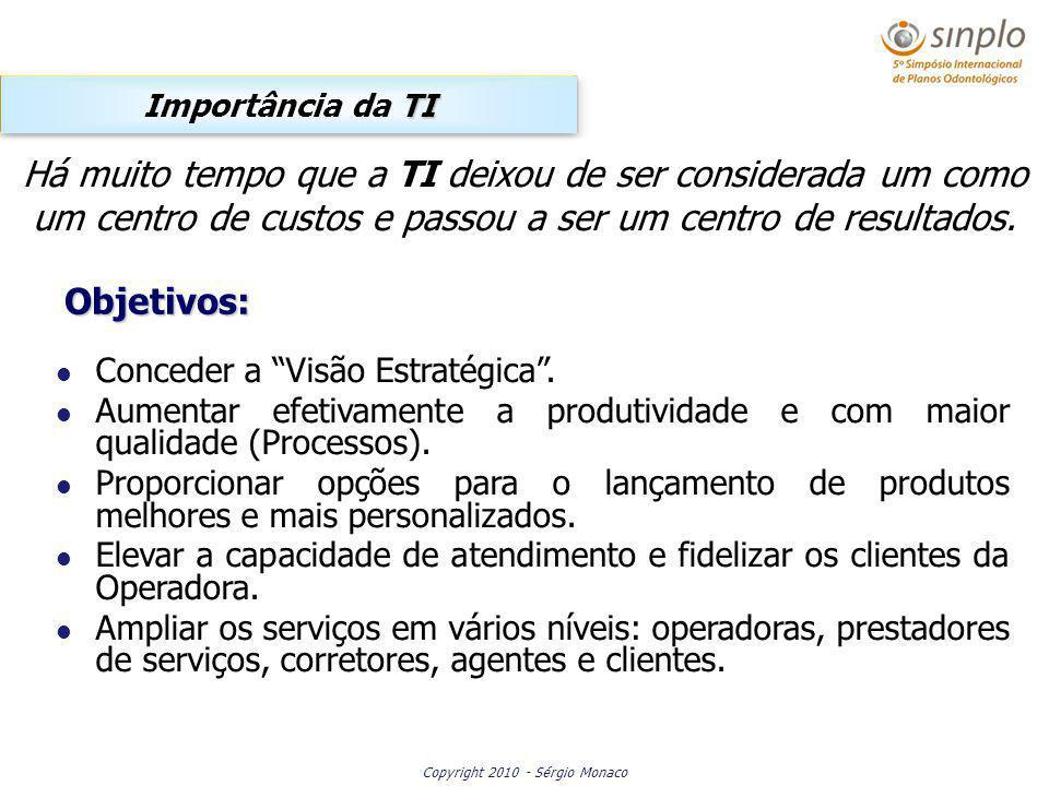 Copyright 2010 - Sérgio Monaco Conceder a Visão Estratégica. Aumentar efetivamente a produtividade e com maior qualidade (Processos). Proporcionar opç