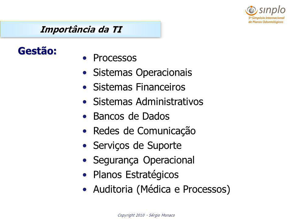 Copyright 2010 - Sérgio Monaco Processos Sistemas Operacionais Sistemas Financeiros Sistemas Administrativos Bancos de Dados Redes de Comunicação Serviços de Suporte Segurança Operacional Planos Estratégicos Auditoria (Médica e Processos) TI Importância da TI Gestão: