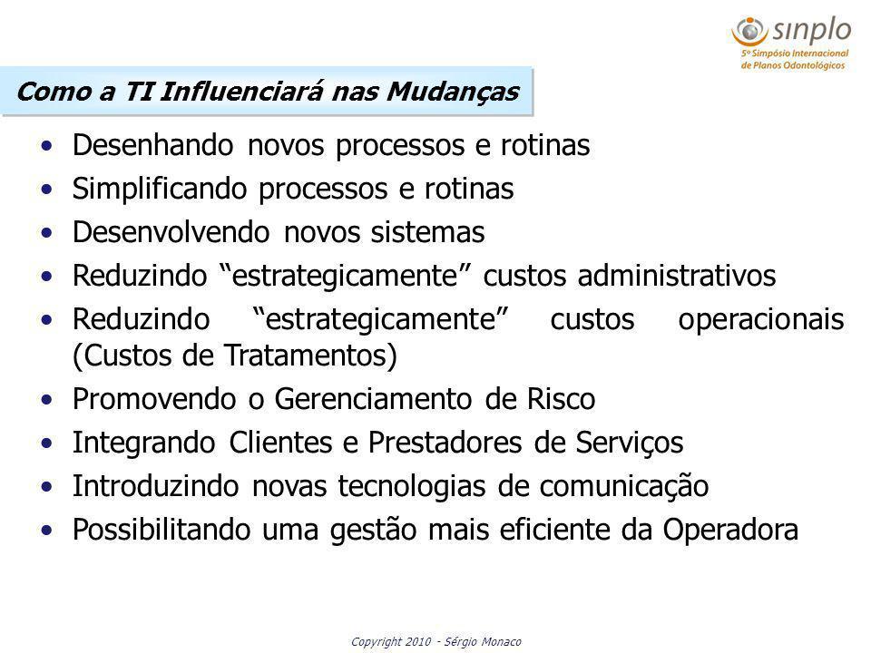 Copyright 2010 - Sérgio Monaco Desenhando novos processos e rotinas Simplificando processos e rotinas Desenvolvendo novos sistemas Reduzindo estrategi