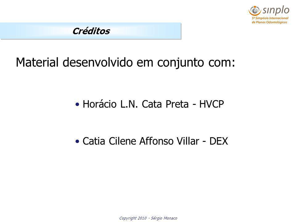 Copyright 2010 - Sérgio Monaco Créditos Material desenvolvido em conjunto com: Horácio L.N. Cata Preta - HVCP Catia Cilene Affonso Villar - DEX