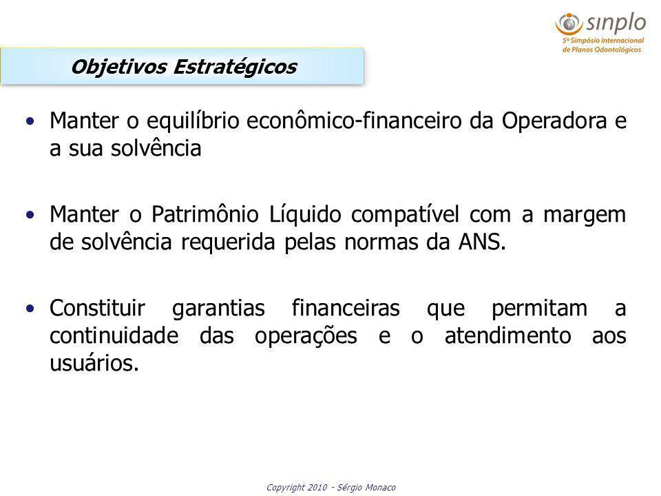 Copyright 2010 - Sérgio Monaco Objetivos Estratégicos Manter o equilíbrio econômico-financeiro da Operadora e a sua solvência Manter o Patrimônio Líquido compatível com a margem de solvência requerida pelas normas da ANS.