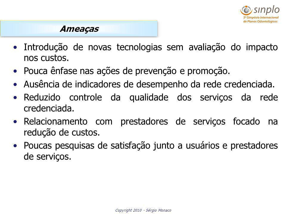 Copyright 2010 - Sérgio Monaco Introdução de novas tecnologias sem avaliação do impacto nos custos. Pouca ênfase nas ações de prevenção e promoção. Au