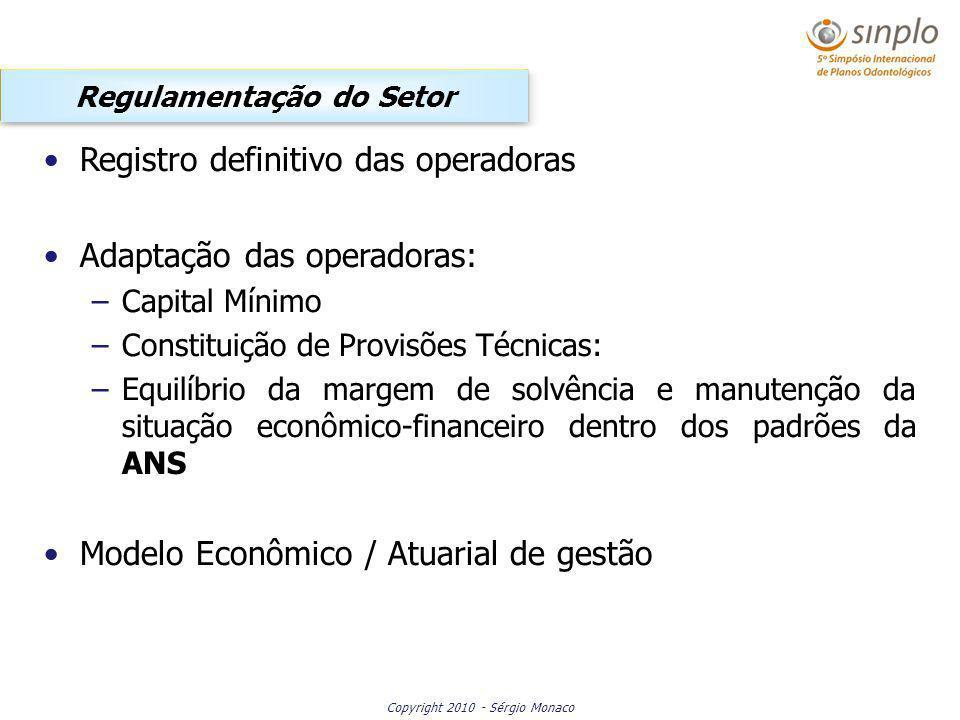 Copyright 2010 - Sérgio Monaco Registro definitivo das operadoras Adaptação das operadoras: –Capital Mínimo –Constituição de Provisões Técnicas: –Equi