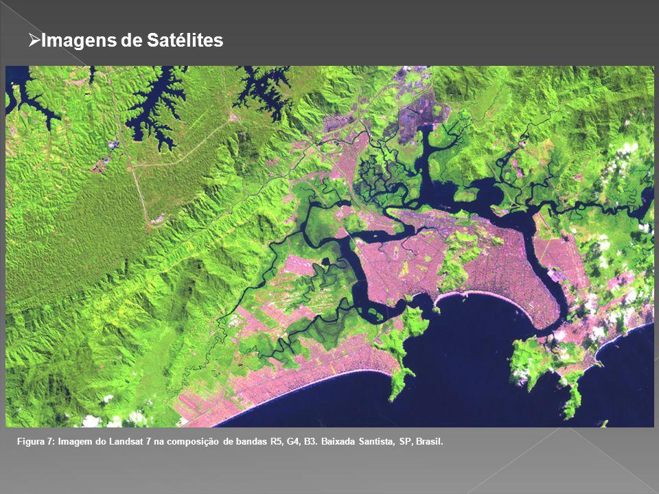 Imagens de Satélites Figura 7: Imagem do Landsat 7 na composição de bandas R5, G4, B3. Baixada Santista, SP, Brasil.