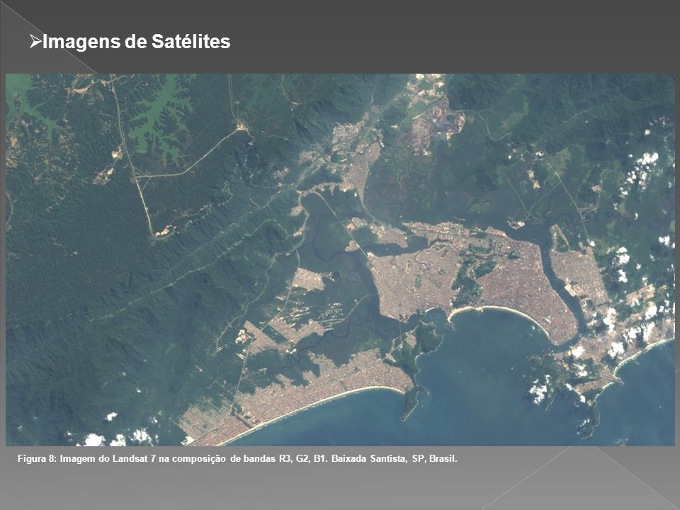 Imagens de Satélites Figura 8: Imagem do Landsat 7 na composição de bandas R3, G2, B1. Baixada Santista, SP, Brasil.