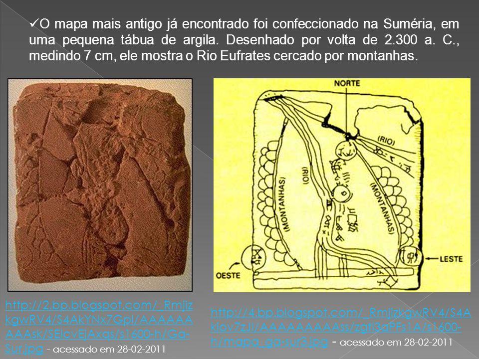 O mapa mais antigo já encontrado foi confeccionado na Suméria, em uma pequena tábua de argila. Desenhado por volta de 2.300 a. C., medindo 7 cm, ele m
