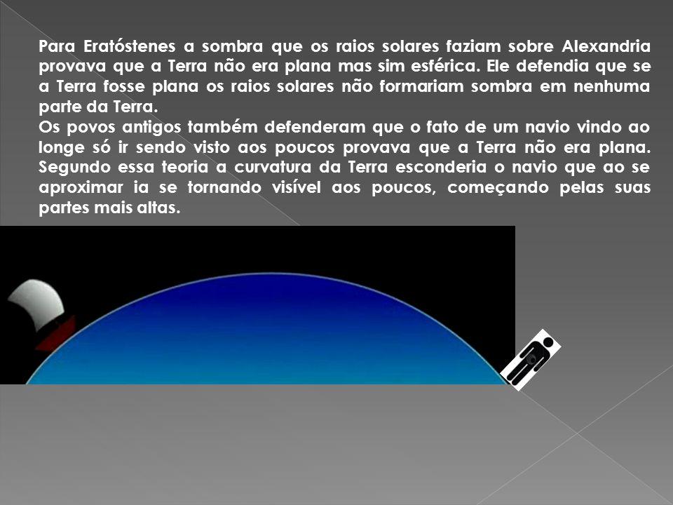 Para Eratóstenes a sombra que os raios solares faziam sobre Alexandria provava que a Terra não era plana mas sim esférica. Ele defendia que se a Terra