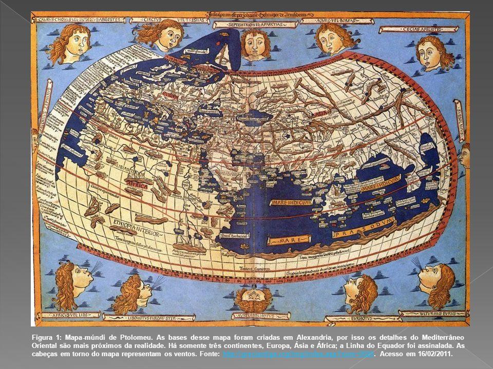 Figura 1: Mapa-múndi de Ptolomeu. As bases desse mapa foram criadas em Alexandria, por isso os detalhes do Mediterrâneo Oriental são mais próximos da