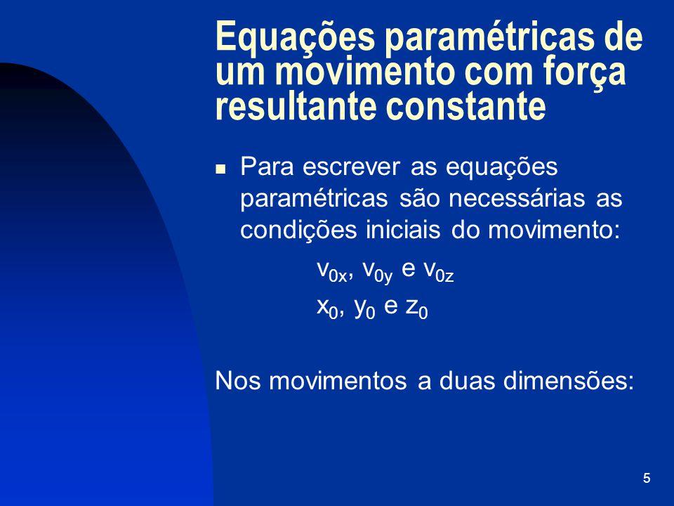 6 Equações paramétricas de um movimento com força resultante constante GrandezasDirecção horizontalDirecção vertical aceleração posição velocidade
