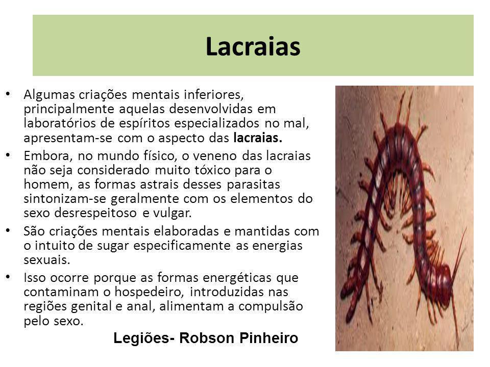 r[p Algumas criações mentais inferiores, principalmente aquelas desenvolvidas em laboratórios de espíritos especializados no mal, apresentam-se com o aspecto das lacraias.